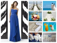 A beach wedding theme using blues and white flowers, featuring a Dessy dress