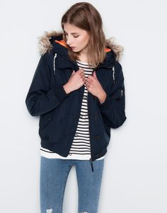 Pull&Bear - woman - coats - bomber jacket with fur hood - navy - 05711327-I2014
