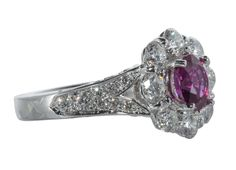 Ruby Diamond Cocktail Ring | From a unique collection of vintage cocktail rings at https://www.1stdibs.com/jewelry/rings/cocktail-rings/