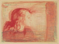 Edvard Munch, The Sick Child I, 1896/1896-1897, color transfer lithograph in red, cherry, and yellow with hand coloring on thin tan card