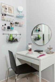 Big Grundtal Mirrored White Room Vanity Desk In IKEA Micke – Bedroom Decor ideas - Bedroom Decor ideas Ikea Bissa, Ikea Molger, Ikea Linnmon, Ikea Micke, Hack Ikea, Minimalist Desk, Tidy Room, Vanity Room, Vanity Desk Ikea