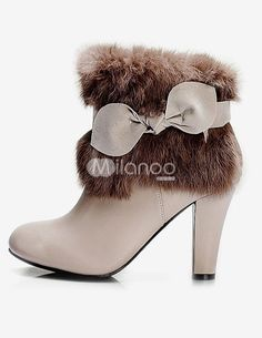 Sweet Apricot PU Leather Bow Furry Women's Heel Booties Shoes