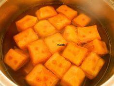 Zapallo o calabaza en almíbar con bicarbonato ~ Pasteles de colores Sweet Potato, Potatoes, Ale, Fruit, Vegetables, Mango, Food, Homemade Candy Recipes, Cake Recipes