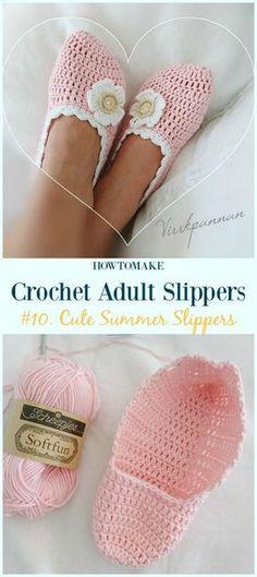 Cute Summer Slippers Crochet Free Pattern - #Crochet; Adult #Slippers; Free Patterns