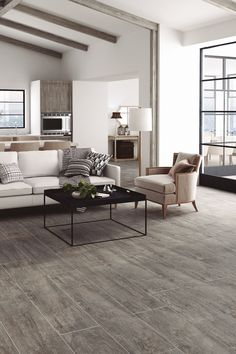 Globe is one of our favourite wood effect porcelain tile ranges - available to buy online Wood Effect Porcelain Tiles, Wood Effect Tiles, Tiles London, Wooden Flooring, Real Wood, Ranges, Brown And Grey, Plank, Dining Bench