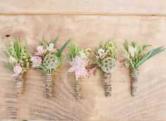 groom boutonnieres - photo by Bella Reese Photography http://ruffledblog.com/graceful-desert-wedding-at-enchanted-rock #flowers #boutonniere