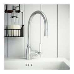 IKEA - ELVERDAM, Single lever kitchen faucet, , 10-year Limited Warranty. Read about the terms in the Limited Warranty brochure.You save water and energy, because the faucet has a mechanism that reduces water flow while maintaining pressure.Rinsing dishes is easier with the pull-out spout.The faucet insert has hard, durable ceramic discs that can handle the high friction that occurs when you change the temperature of the water.The high spout makes it easier to wash dishes, including large…