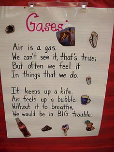 "Gases chart. Cute poem except that it says ""feels"" instead of ""fills"". Makes me wonder what they are teaching at that school if they can't get that right."