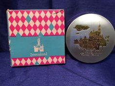 Vintage Disneyland Round Compact Metal Mirror Make-up Etched Box Disney