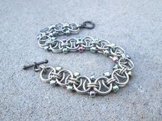 Chain Maille Jewelry, Iridescent Bracelet, Toggle Bracelet, Stainless Steel Jewelry Chainmail Jewelry Chain Mail Jewelry Chainmaille Jewelry