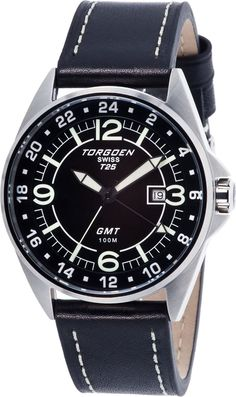 Torgoen Mens T25 GMT Aviation Stainless Watch - Black Leather Strap - Black Dial