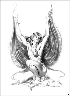 Doncella con su pelo como alas