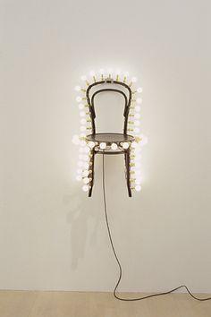 defacedbook:    Darren Lago  Electric Chair, 2003  Chair and electric lightbulbs  (90 x 61 x 61cm)