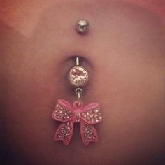 Pink bow belly button jewelry