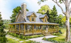 Cabin floor plans range from small house plans made with log to grand lakefront retreats. Mountain home plans usually include porches and decks. Country Style House Plans, Cottage House Plans, Small House Plans, Cottage Homes, House Floor Plans, Cottage Style, Small Log Cabin Plans, Country Farmhouse, Farmhouse Front