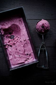 Roasted blueberry crème fraîche ice cream from  Savory Simple by Jennifer Farley
