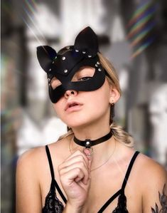 Cat Masks For Faux Leather Head Mask Accessories Party Cosplay Punk Adjustable Gothic Mask, Catwoman Cosplay, Leather Mask, Pu Leather, Head Mask, Sexy Gifts, Cosplay Costumes, Vegan Leather, Girls