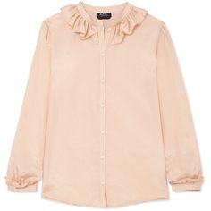 A.P.C. Atelier de Production et de Création Josephine ruffled cotton... (2 655 SEK) ❤ liked on Polyvore featuring tops, blouses, blush, pink striped top, loose blouse, pink ruffle blouse, striped blouse and striped top
