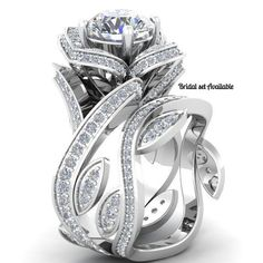 The Knots' 2.51CT Russian Lab Diamond 18K White Gold Engagement Promise Wedding Floral Ring
