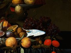 Andries Benedetti, 1615 - ca. 1660, attributed FRUIT STILL LIFE Oil on canvas. . Relined . 83 x 98 cm Various fruit: such as grapes, citrus fruit, peaches, melons, figs, cherries and quinces are elaborately arranged - in parts on a chinoiserie faience dish and in parts on a wooden étagère with bowl did is Placed behind the dish with a parrot sitting beside it. The painting is of high-quality and Certainly painted by Benedetti.