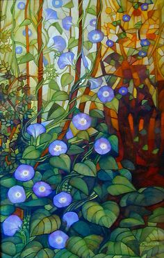"Ipomoea ""caerulea blue"" by elisabetta trevisan - stained glass but perfect for embroidery"