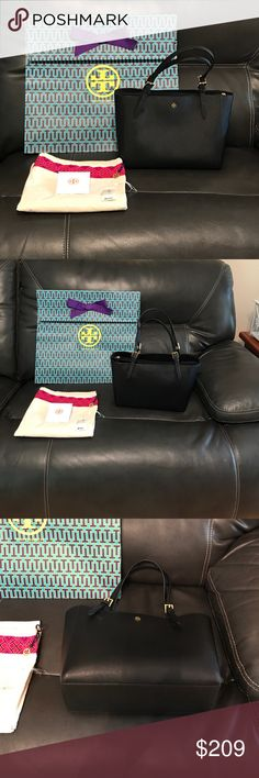"""100% Authentic Tory Burch York Buckle Tote, small Excellent Condition. Received for Christmas 2016. Only carried a couple of months. No stains or tears. Comes with dust bag and packaging. Also have tags . Size 15"""" W x 11""""H x 6 D .  Handle Strap drop 8"""" - 11"""" , straps can adjust.  Saffiano Leather Black bag, open top closure, cell phone pockets. Center compartment zips. Smoke free home. 100% authentic.   Price Firm! Purchased at Tory Burch in Atlanta Ga Tory Burch Bags Shoulder Bags"""
