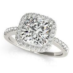 Cushion Cut Diamond Halo Engagement Ring w/ Accents 14k W. Gold 1.50ct - Allurez.com