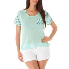 Short Sleeve Polka Dot Top with Pocket  Turn a Tank Top into a t-shirt with some scrap fabric