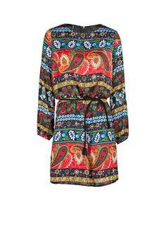 Vestido satinado estampado paisley. mango