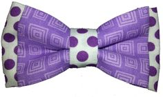 Double Dog Bow tie in Purple square pattern and purple white polka dots #dogbowtique #dogbowtie #bowtie