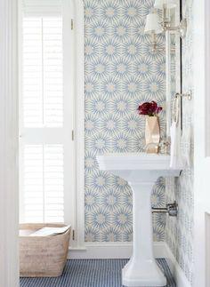 blue wallpaper in bath