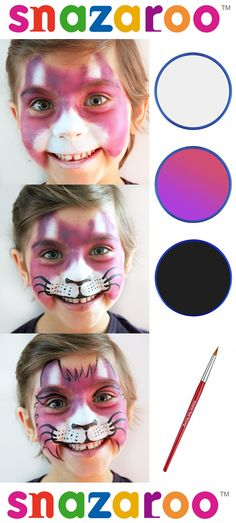 Simple and easy beginners face painting - Cat design by Lidia Roncolato for Snazaroo #snazaroo #tutorial #facepainting #stepbystepguide #cat