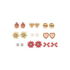 multi colour nine pack of stud earrings, includes flowers, cupcakes and bow studs