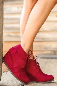 Wedge Your Way In Booties-Sangria - New Today | The Red Dress Boutique