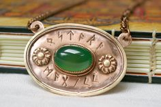 Items similar to Ostara Magick Chrysoprase Green Chalcedony Mixed Metal Nordic Runes Pendant on Etsy Nordic Runes, Elder Futhark Runes, Chalcedony Stone, Copper Sheets, White Gift Boxes, Mixed Metals, Magick, Jewelry Box, Pendants