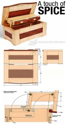 Jewellery Box Plan - Woodworking Plans and Projects - Woodwork, Woodworking, Woodworking Plans, Woodworking Projects Woodworking Furniture Plans, Woodworking Box, Woodworking Projects That Sell, Woodworking Patterns, Easy Wood Projects, Project Ideas, Jewelry Box Plans, Wood Plans, Wood Working For Beginners