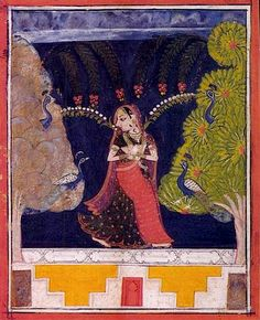 Gauri Ragini alone in the forest attracts peacocks.. Sirohi, India ca. 1675