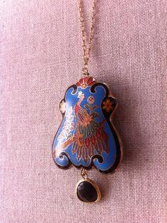 Hannah vintage peacock pendant // AudrasDetails on Etsy