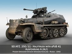 3D SD KFZ 250 Halftruck with sPzB 41 PzGrenDiv Model .c4d, .obj, .3ds, .fbx, .ma, .lwo 53289
