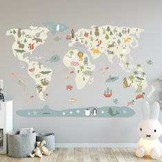 Vinilo infantil mapamundi Beige | DecoPeques Gold Abstract Wallpaper, Palm Leaf Wallpaper, Modern Wallpaper, Kids Wallpaper, Custom Wallpaper, Peel And Stick Vinyl, Kids Bedroom, Wall Stickers, Baby Room
