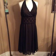 Connected black dress Connected black dress with lace waist halter tie neck size 8 Connected Dresses Midi