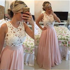 Sexy pink bead lace chiffon dress
