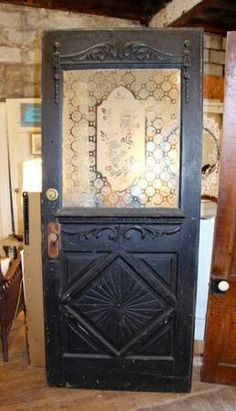 Victorian Eastlake door with etched glass Etched Glass Door, Glass Front Door, Victorian Front Doors, Victorian Homes, Stairs Trim, Old Wood Floors, Architectural Antiques, Diy Barn Door, Victorian Architecture