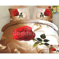 Hnedo biele posteľné návliečky s motívom červenej ruže