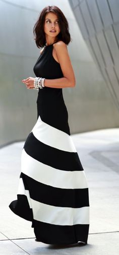 Drop-Dead Gorgeous Striped Maxi Dress