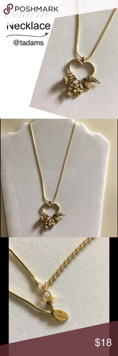 Charm Necklace - Lia Sophia Gold-tone. Heart-shaped charm holder. Charms can be removed or added to. Excellent condition. Worn very few times. Lia Sophia Jewelry Necklaces