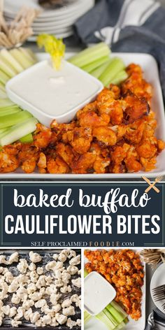 Buffalo Cauliflower Bites taste so much like traditional chicken wings, but are a healthier vegetarian version. Tender crispy cauliflower baked to perfection in a buttered hot sauce mixture is delicious! #buffalo #cauliflower #baked #bites #crisp #appetizer #easy #recipe #best Vegetable Recipes, Vegetarian Recipes, Healthy Recipes, Vegetarian Dinners, Yummy Recipes, Keto Recipes, Recipies, Baked Buffalo Cauliflower, Baked Cauliflower Bites