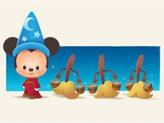Sorcerer Mickey with brooms Mickey Minnie Mouse, Disney Mickey, Disney Pixar, Walt Disney, Disney Characters, Disney Facts, Disney Nerd, Disney Fan Art, Cute Disney