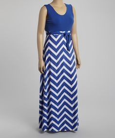 This Royal Blue & White Zigzag Sleeveless Maxi Dress - Plus by GLAM is perfect! #zulilyfinds