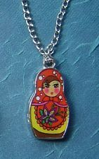 """a Russian babushka Doll Enamel red Charm Pendant silver plated necklace 20"""" gift"""